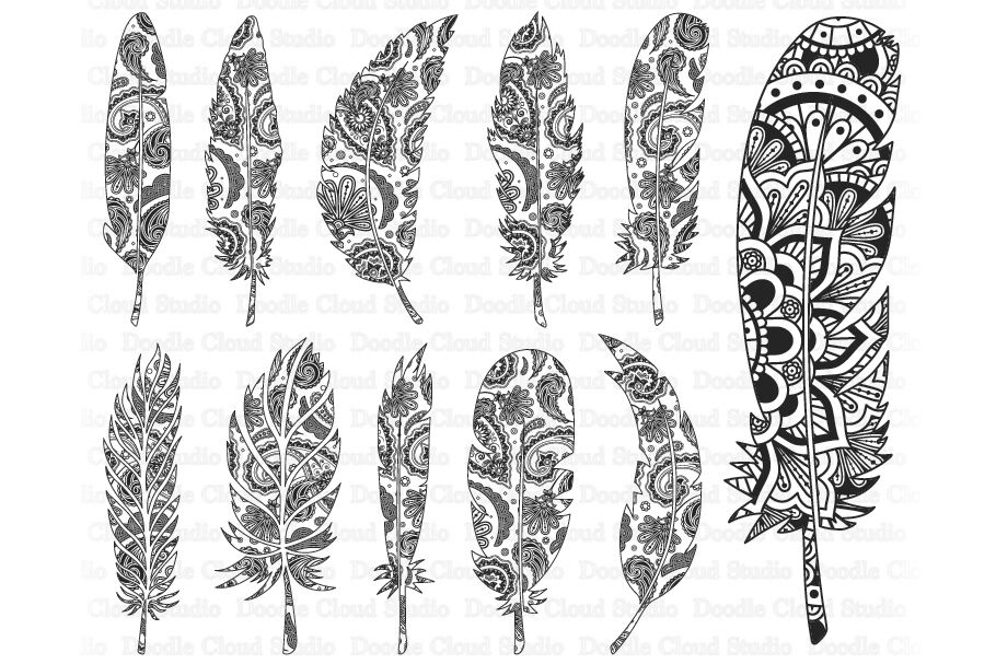 Feather Mandala Svg Feather Zentangle Svg By Doodle