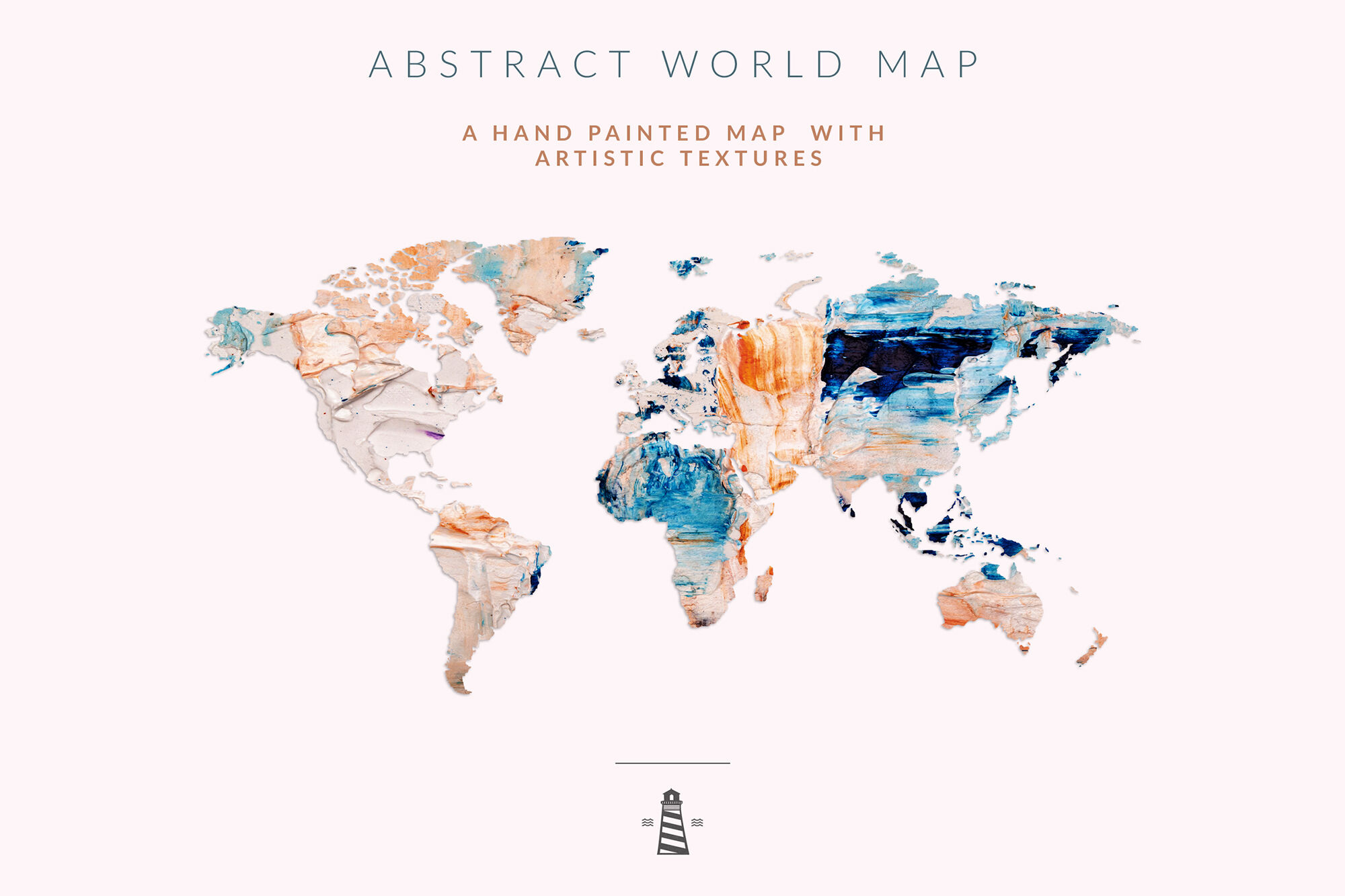 Hand Painted Abstract Map World Map Clipart By North Sea Studio