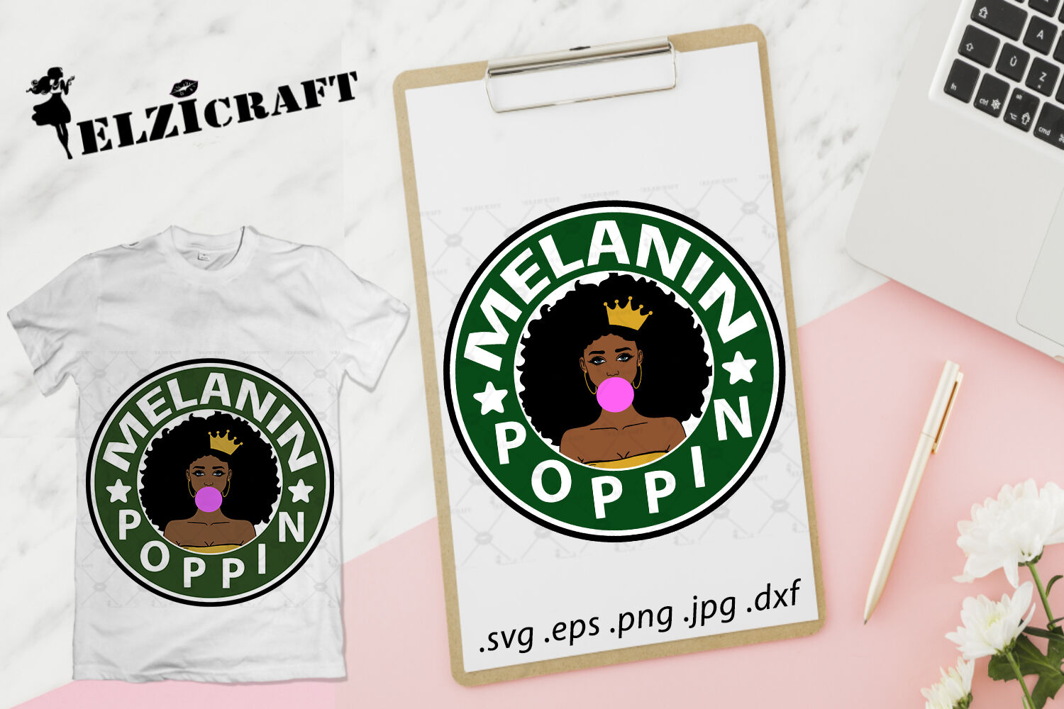 Afro Girl Melanin Poppin Svg Cut File By Elzicraft Thehungryjpeg Com