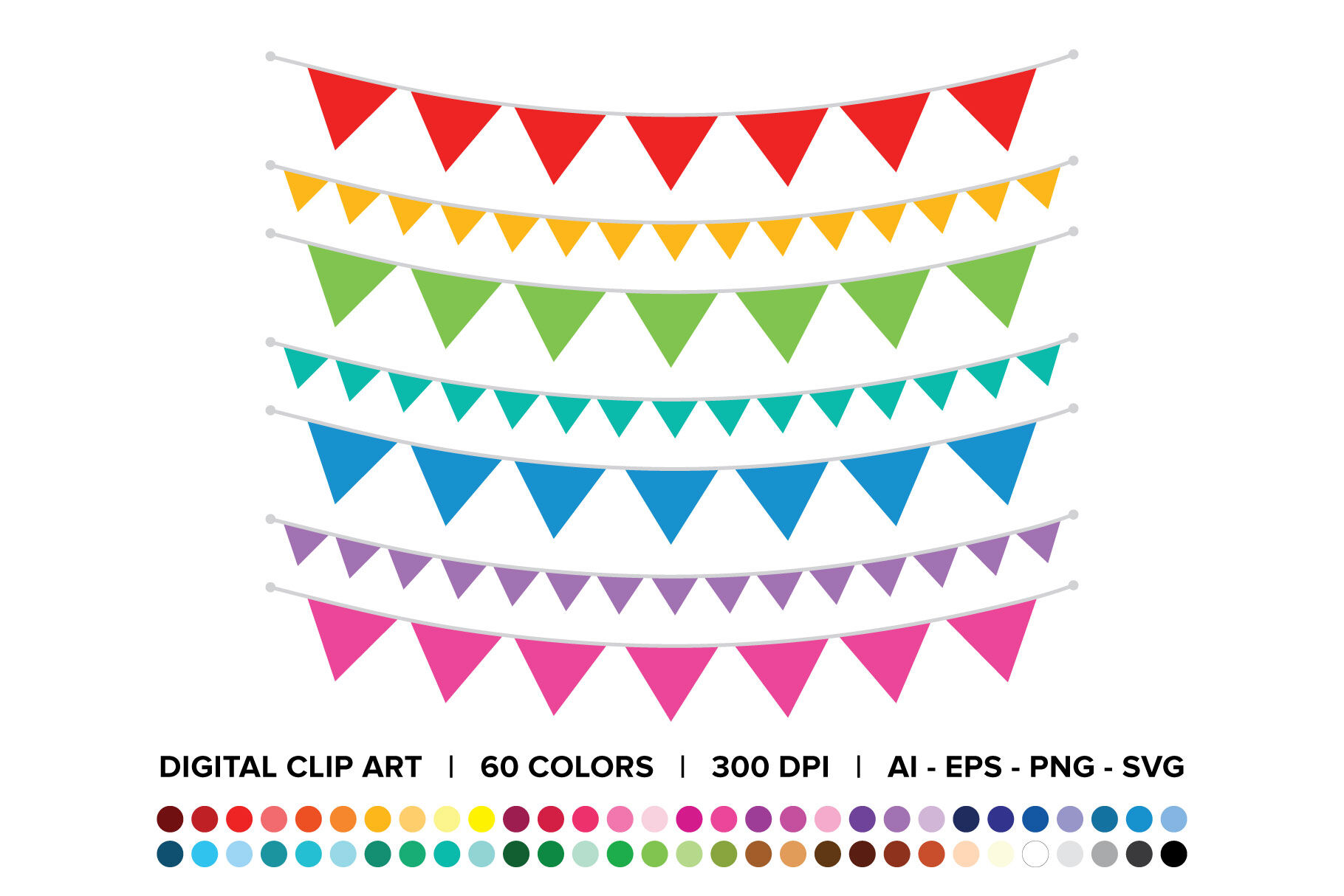 Single Color Triangle Banner Clip Art Set By Running With Foxes