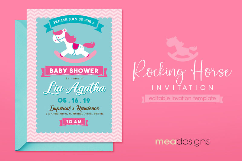 Rocking Horse Baby Shower Invitation By Mea Designs
