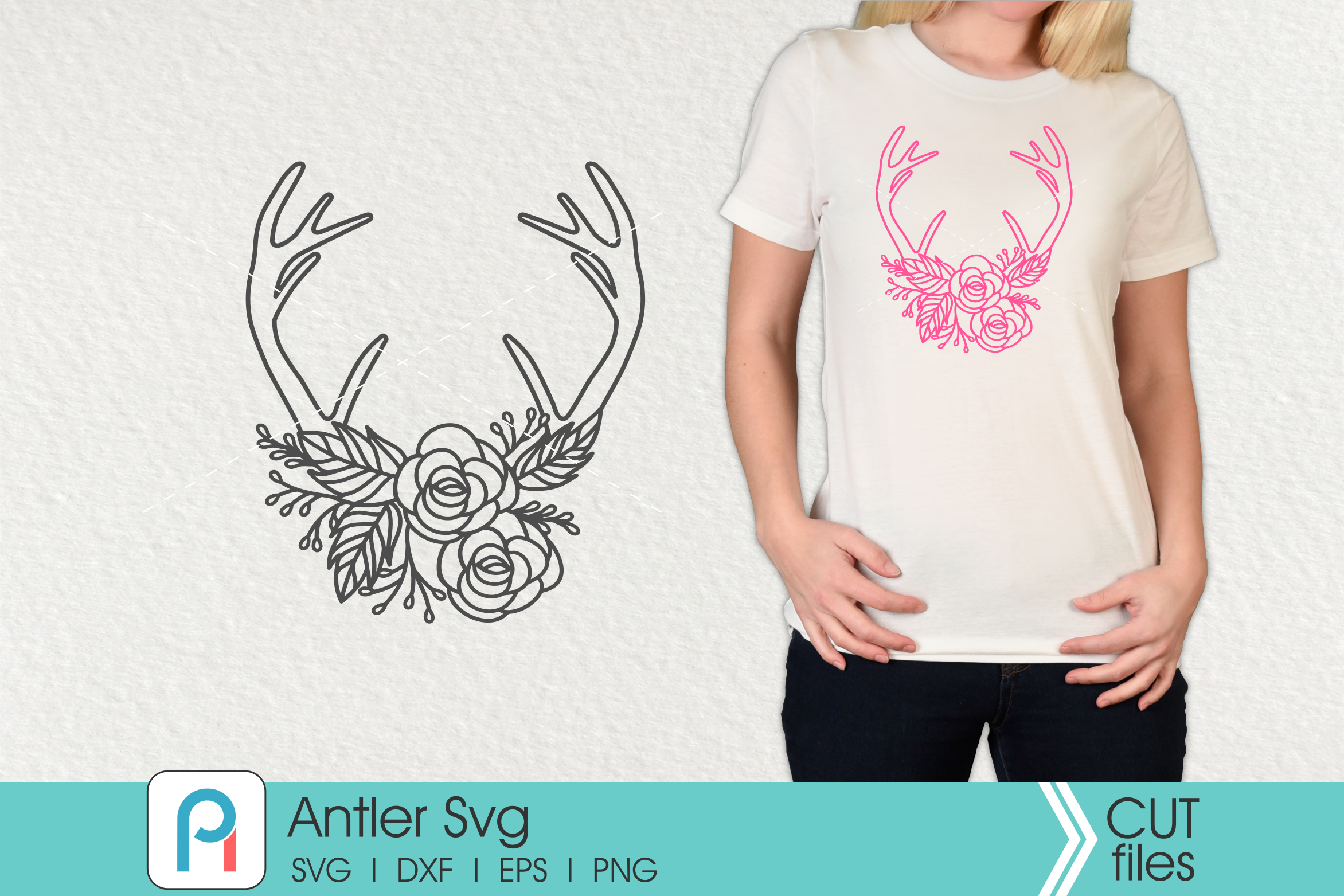 Antler Svg Antler Clip Art Deer Antler Svg Flower Svg By