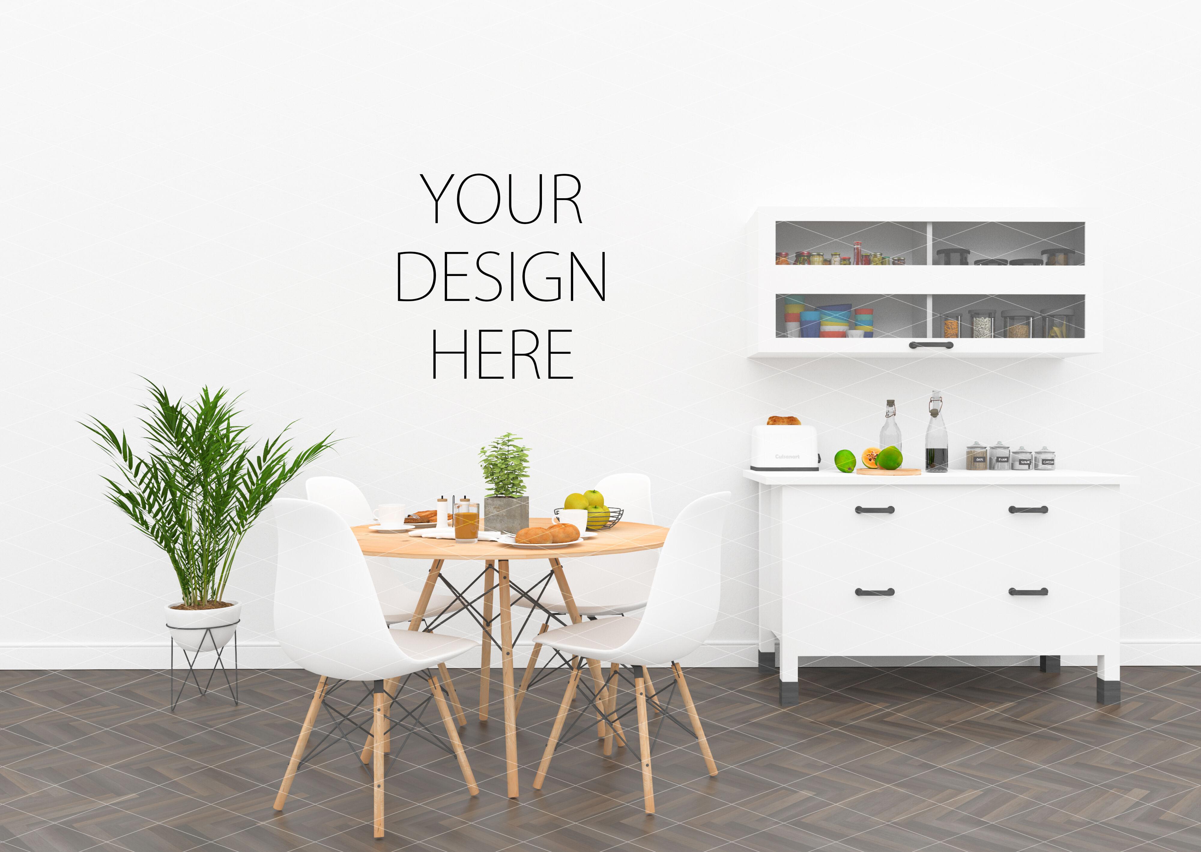 Kitchen Interior Mockup Artwork Background By Hunny Badger