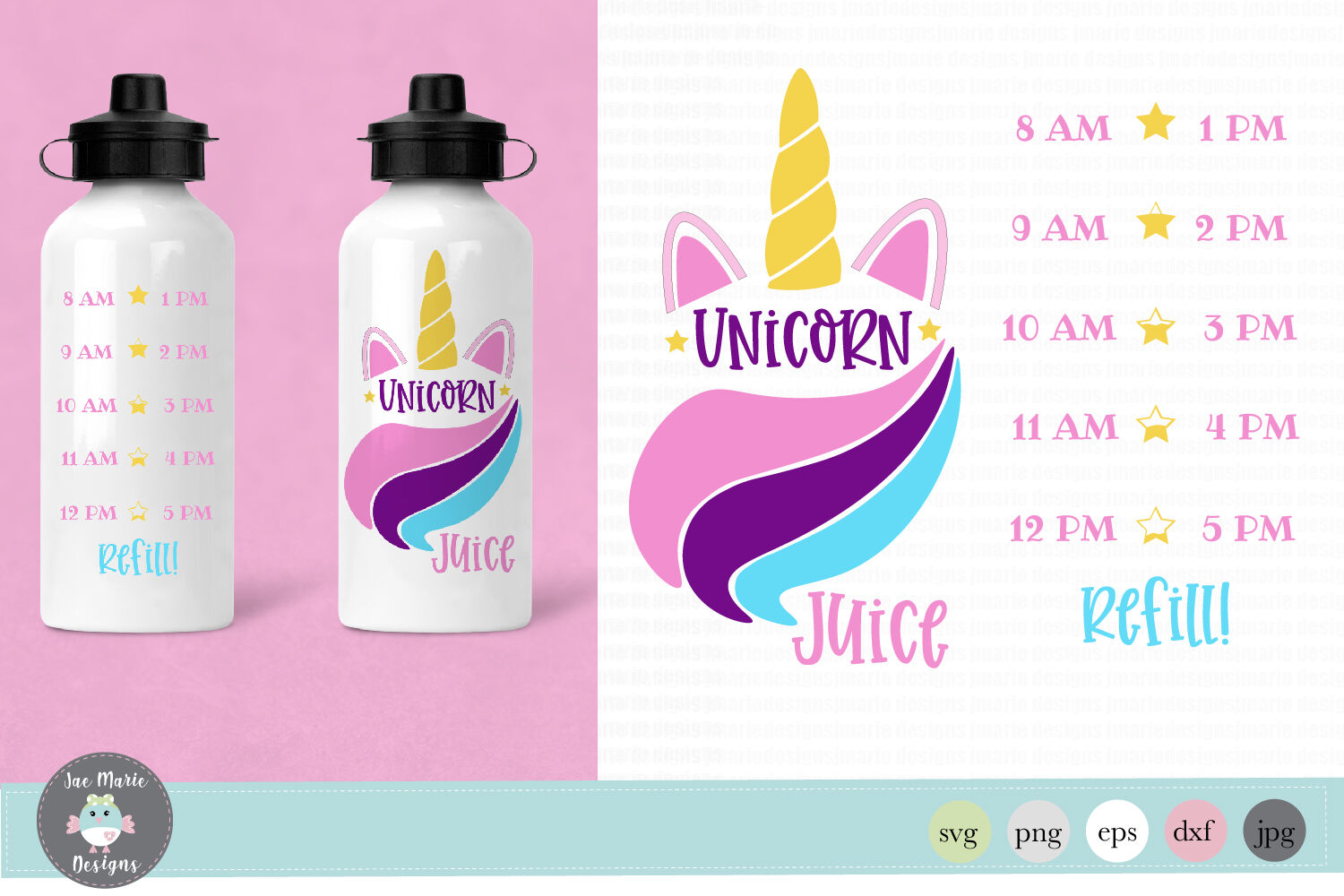 Unicorn Water Bottle Tracker Svg Sublimation By Jae Marie Digital