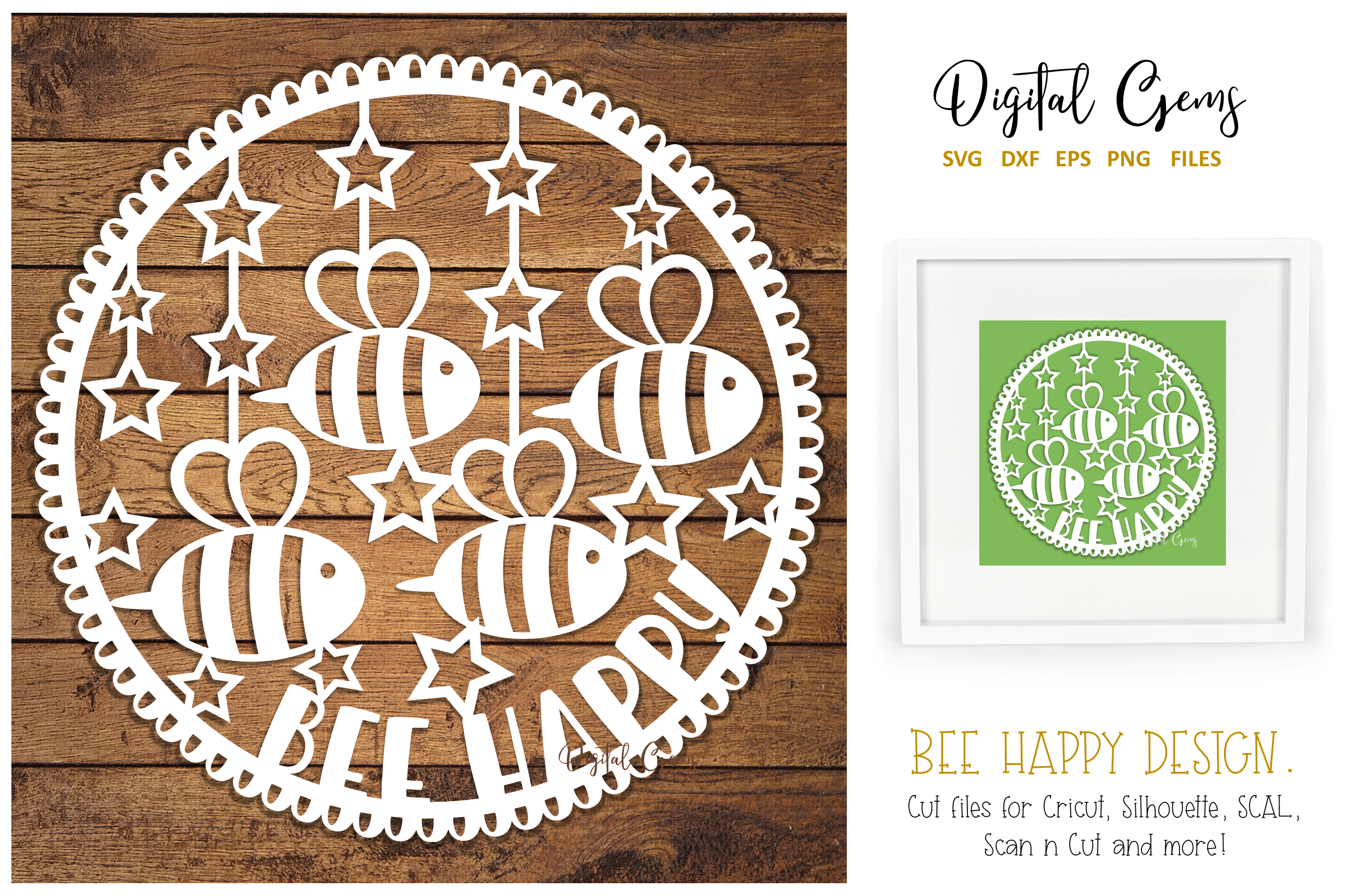 Bee Happy Paper Cut Design By Digital Gems Thehungryjpeg Com