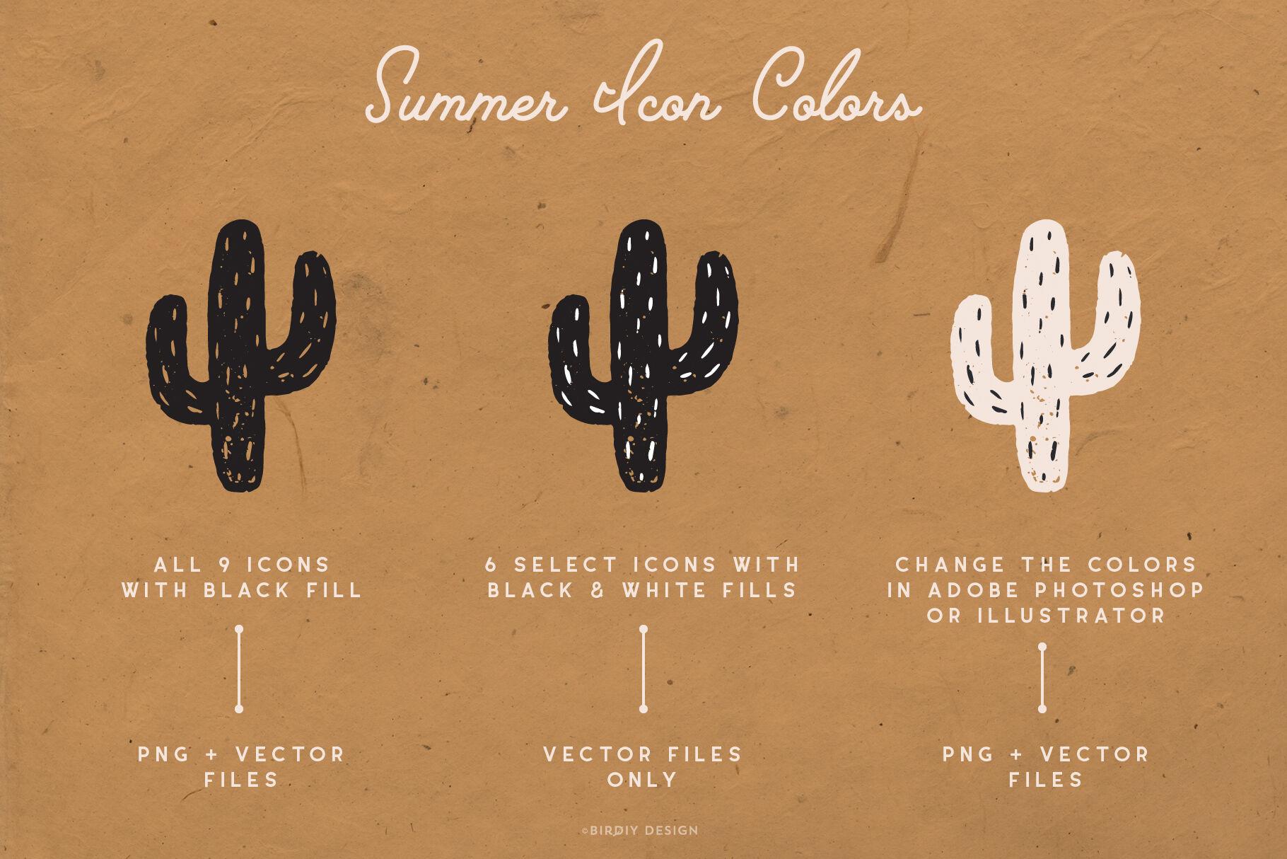Summer Icons Hand Drawn Graphics Set By Birdiy Design