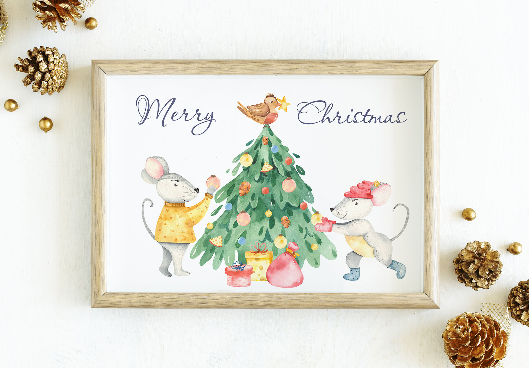 Cute Rats Watercolor Christmas Cards Frames Patterns By Marina