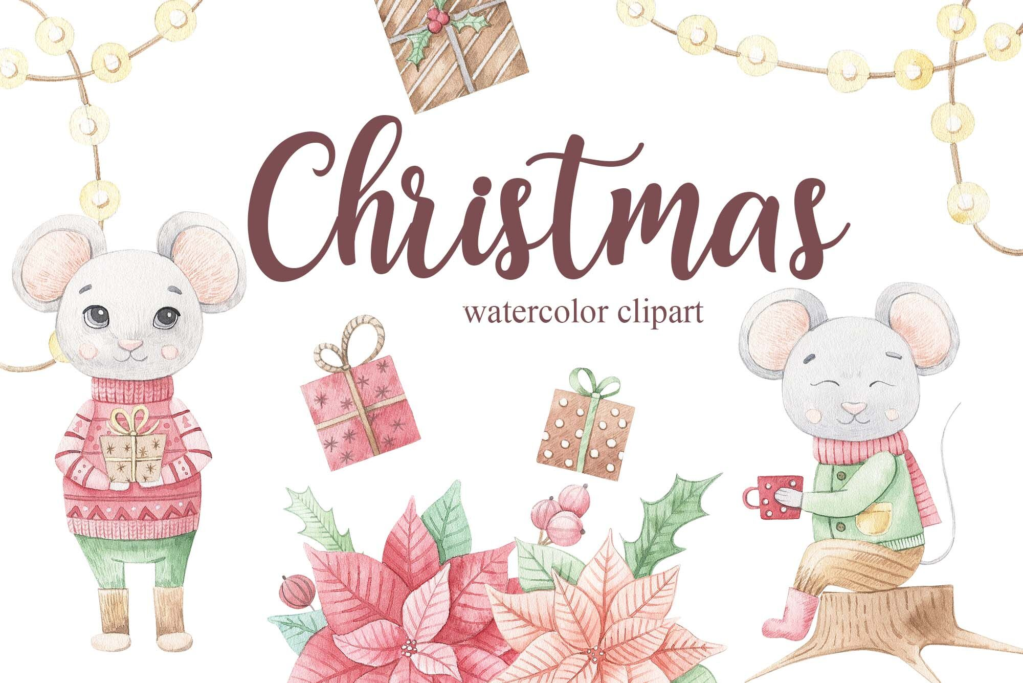 Watercolor Christmas Mouse Set By Alesya Pytskaya Illustrations