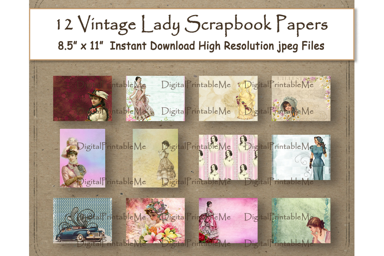 Vintage Lady Collage Digital Paper 8 5 X 11 Woman Scrapbook