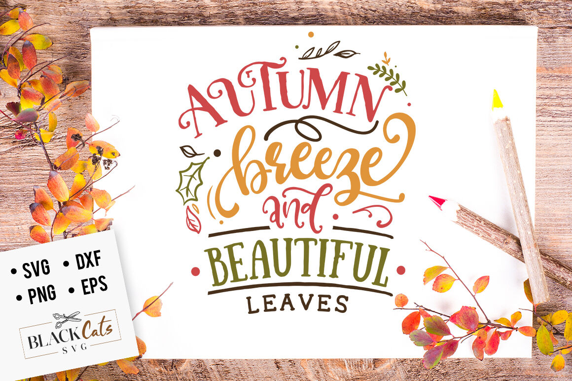 Autumn Breeze And Beautiful Leaves Svg By Blackcatssvg