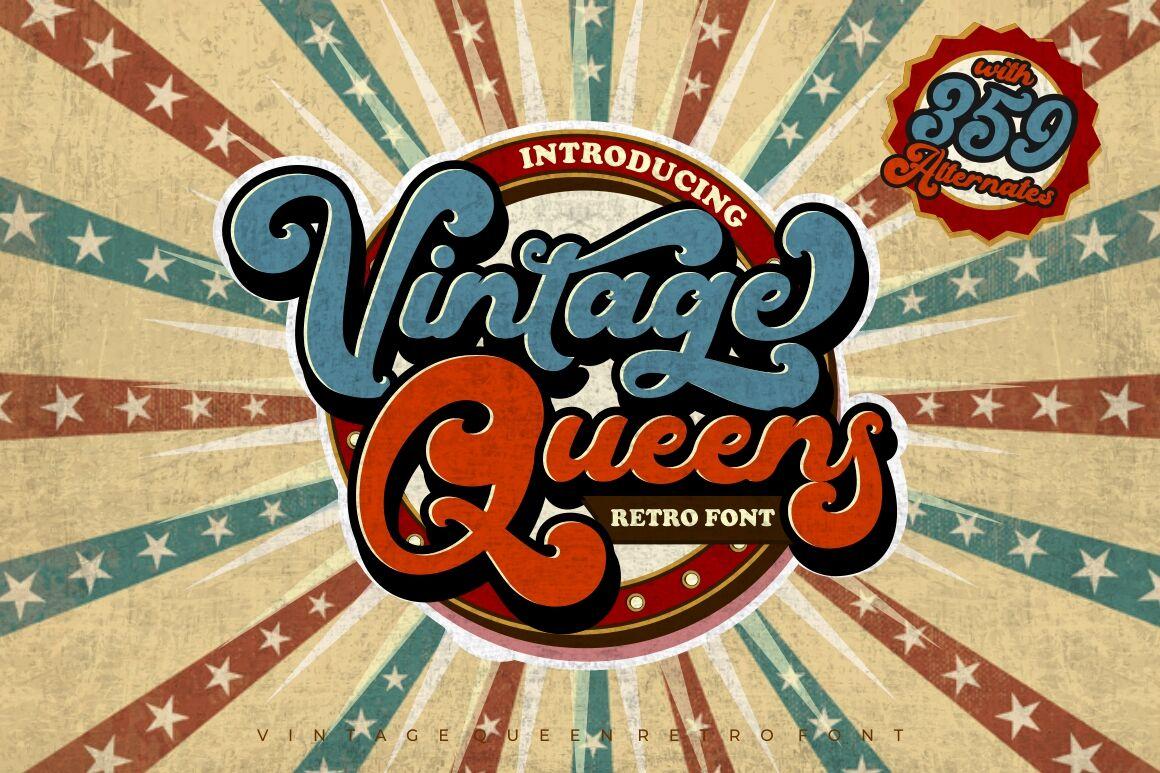 Vintage Queens Retro Bold Script By Putracetol Studio