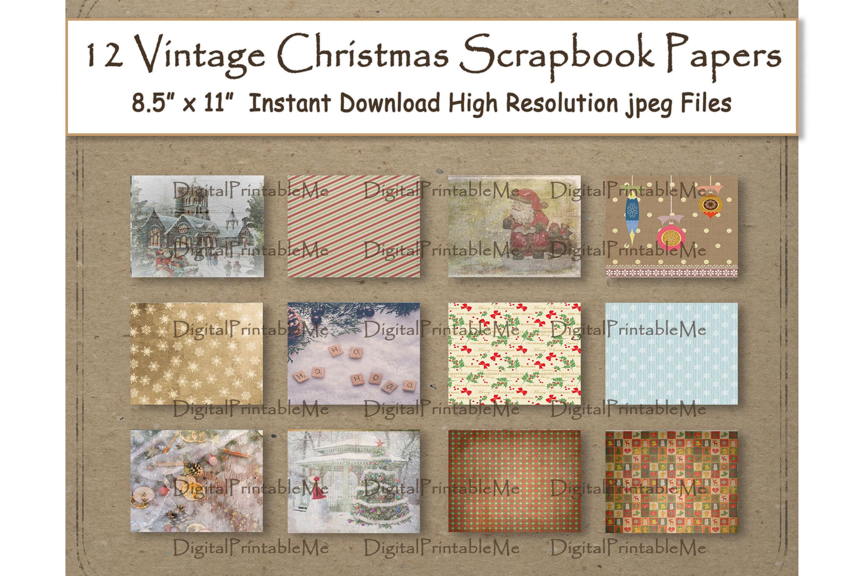Rustic Christmas Digital Paper 8 5 X 11 Vintage Antique Retro