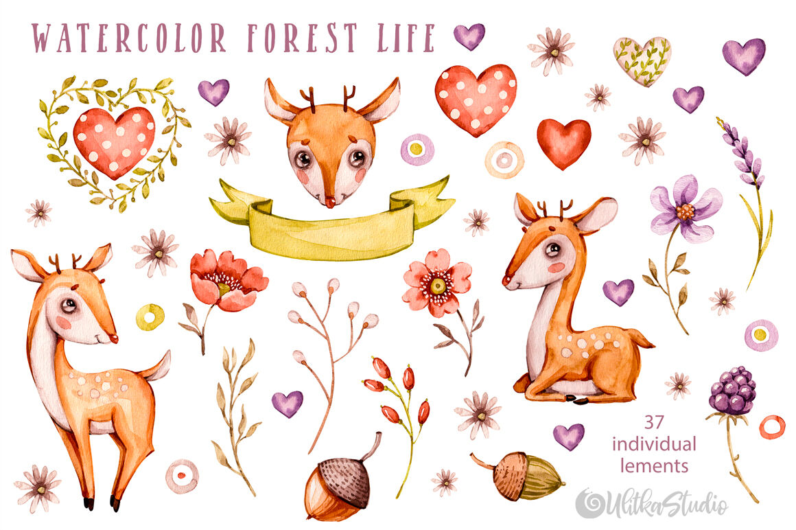 flowers woodland friends cute nursery art Little Watercolor animals clipart Instant download kids nature Free Commercial License