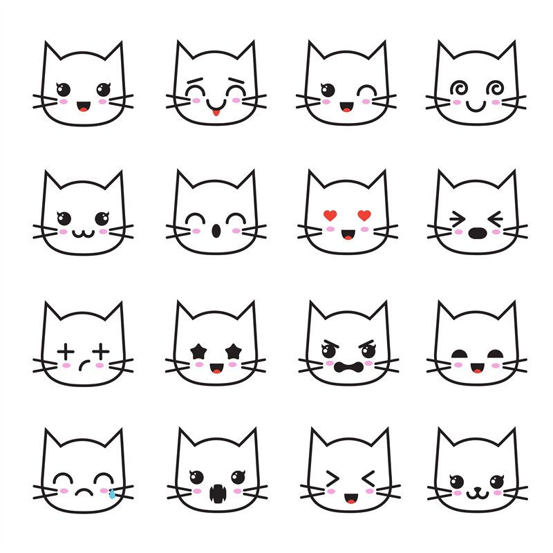 Cute Kitten Kawaii Emoticon Collection Funny White Cat Emoji