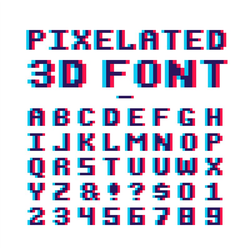 Video Game Pixelated 3d Font. 8 Bit Pixel Art Old School