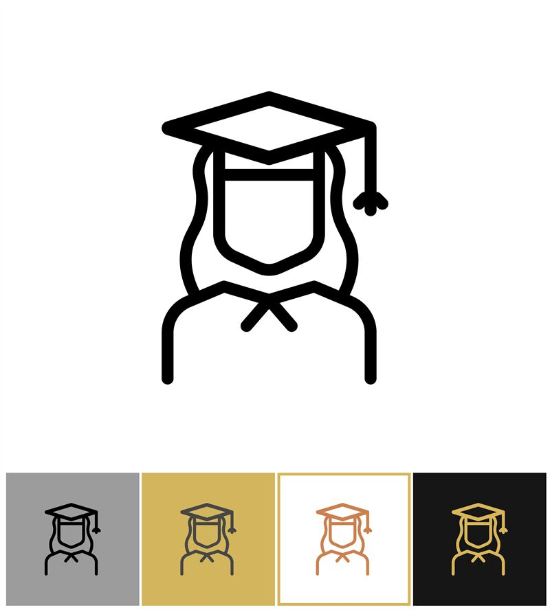 Graduate Icon Female Academy Graduation Woman Symbol By