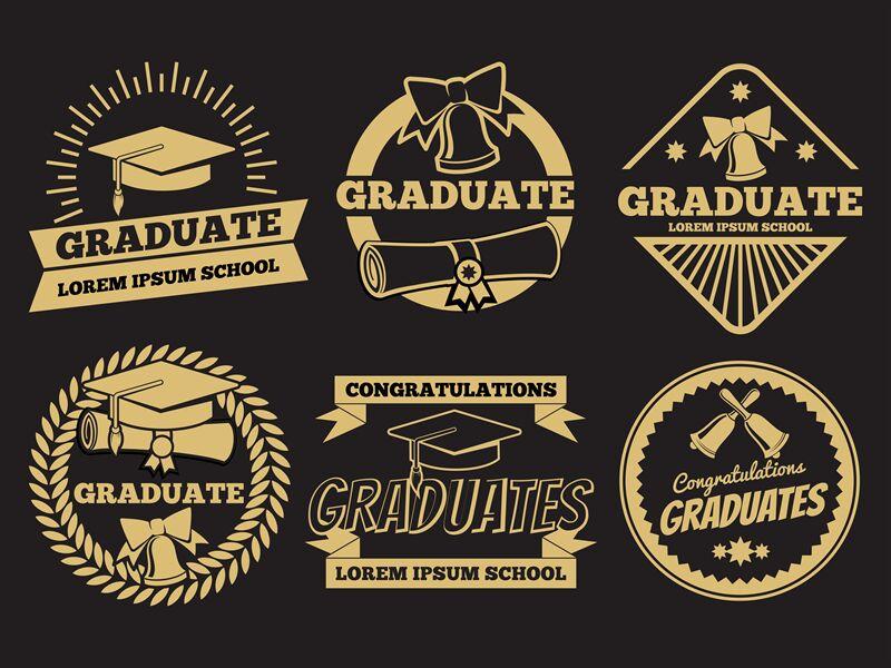 Vintage Student Graduate Vector Badges Graduation Label Set By