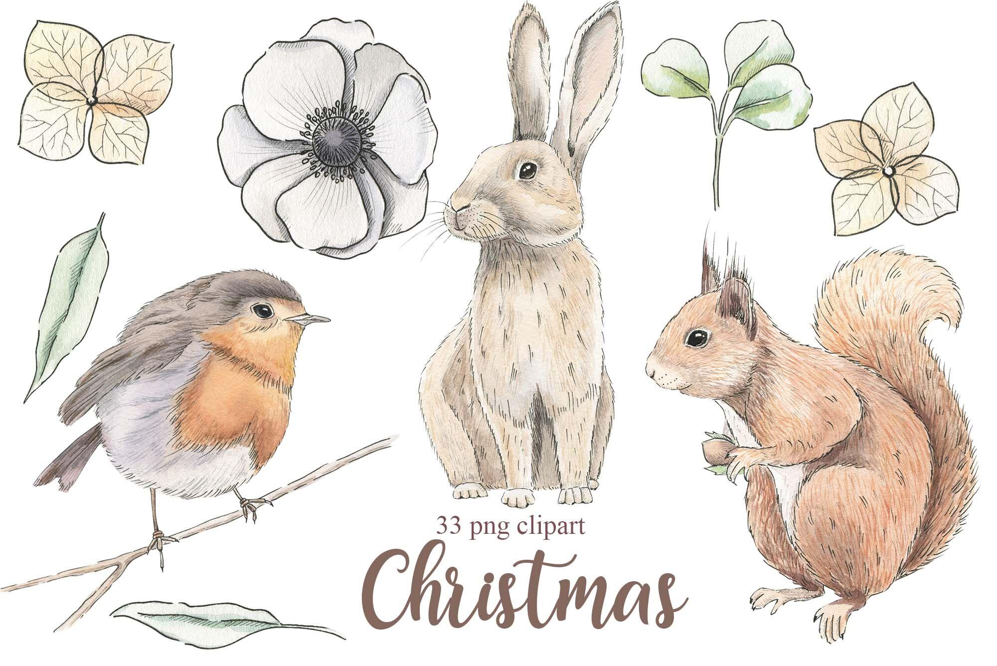 Christmas Woodland Watercolor Set By Alesya Pytskaya