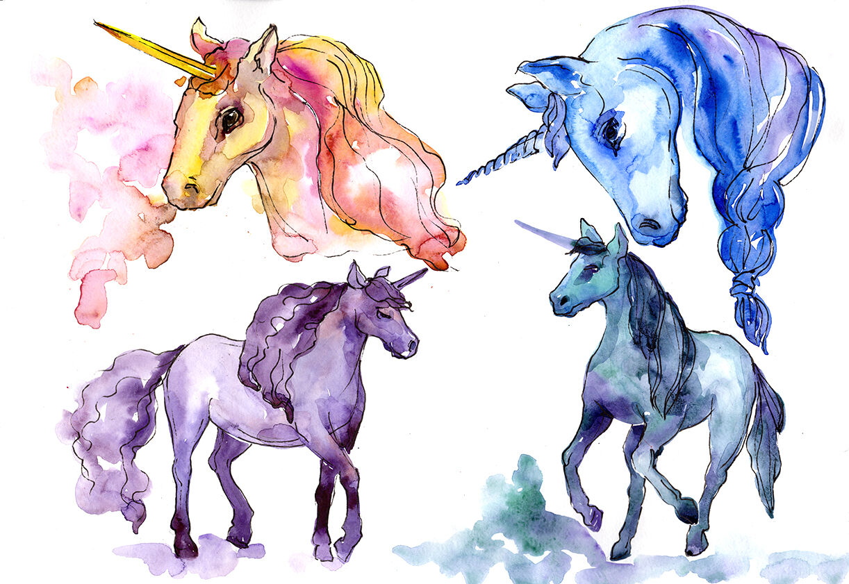 Colorful Watercolor Unicorn Clipart, Free Commercial Use