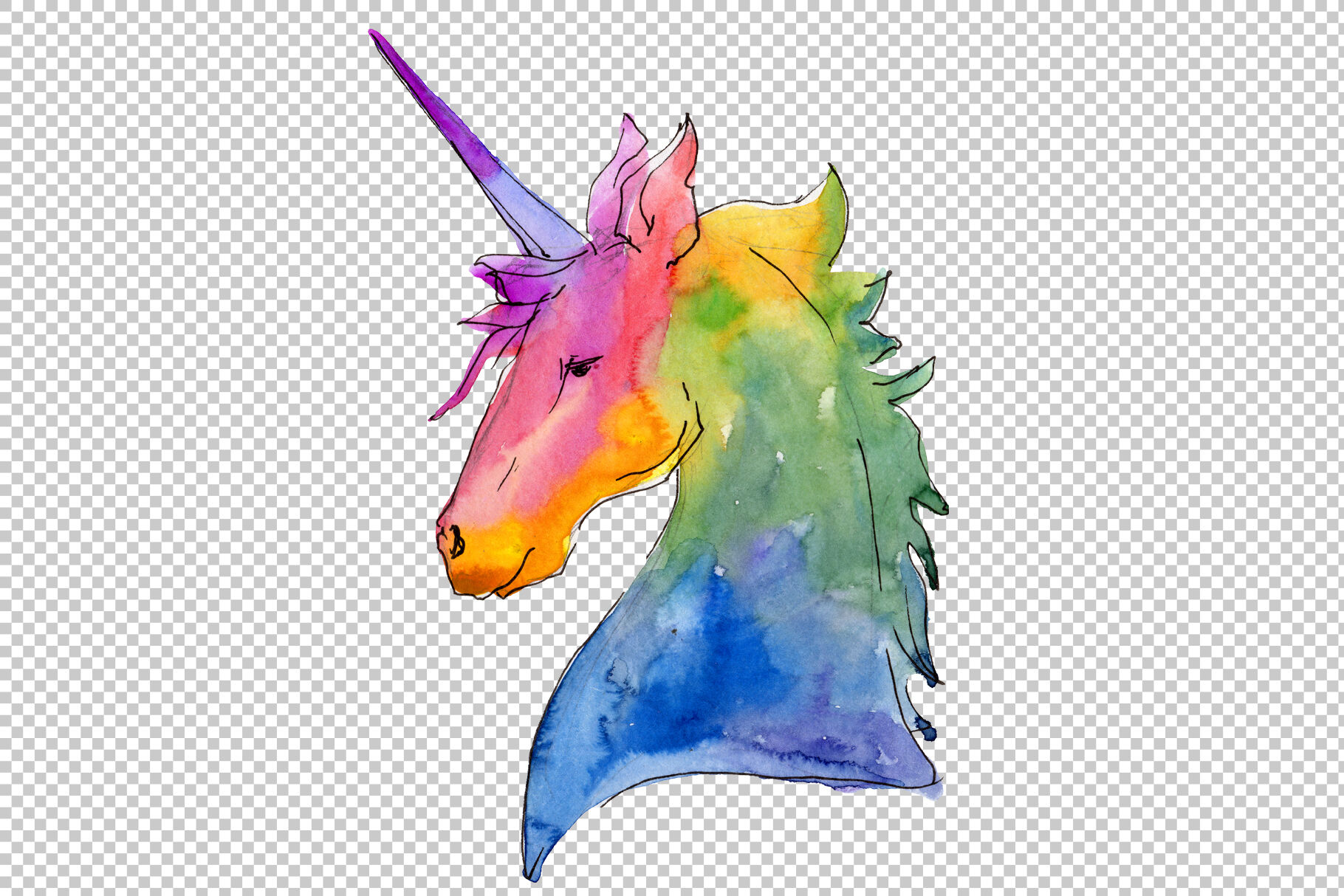 Watercolor Unicorn Clipart Free Commercial Use Hand Painted Digital By Watercolordeal Thehungryjpeg Com