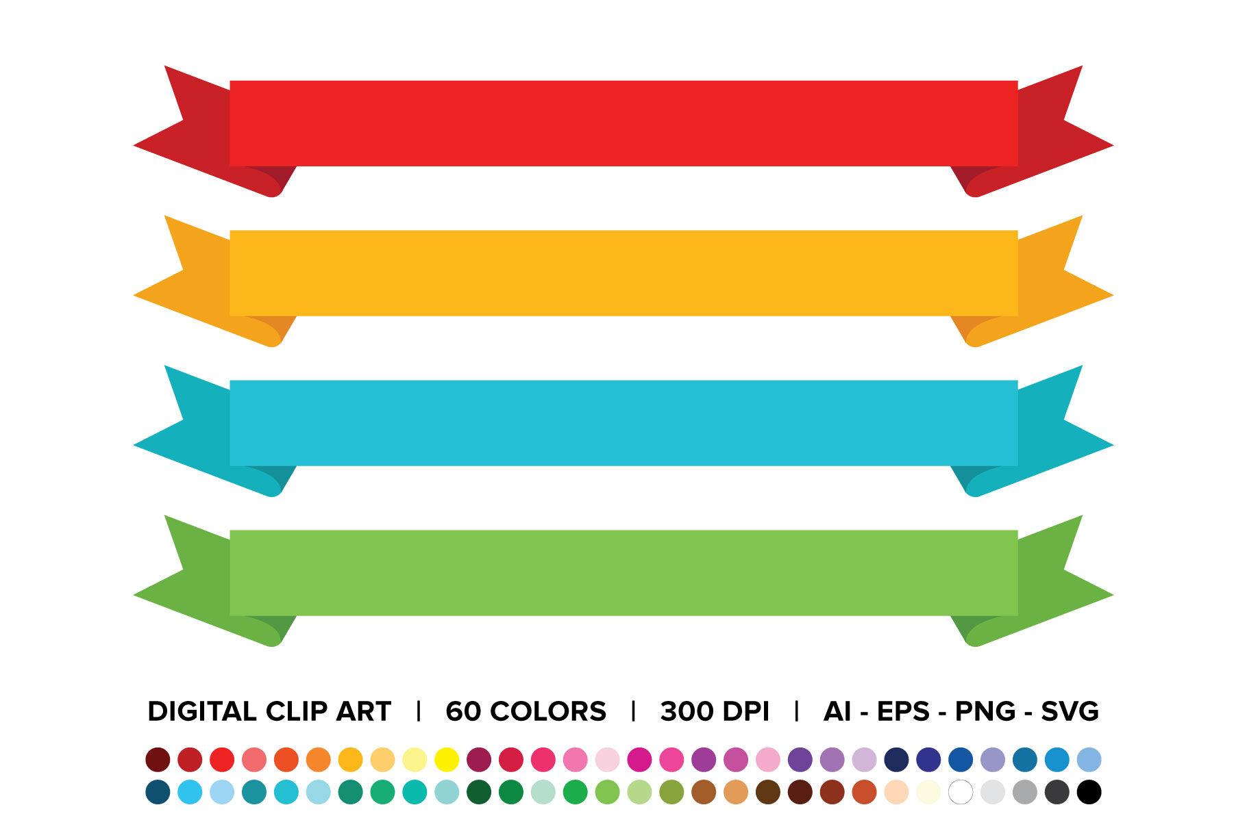 Wide Ribbon Banner Clip Art Set By Running With Foxes