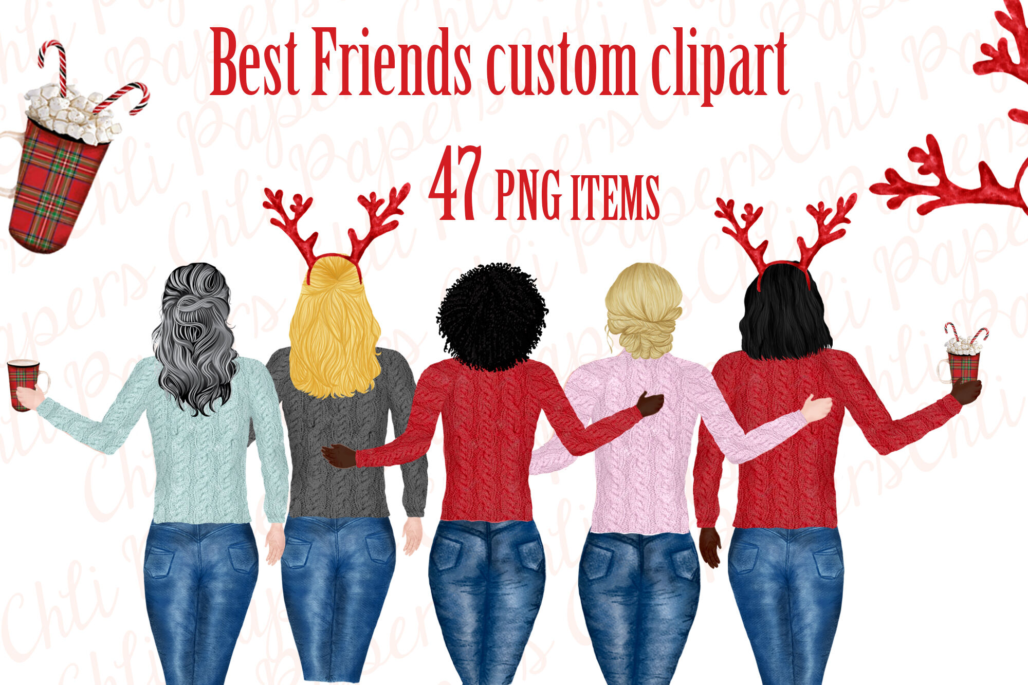 Girl Best Friend Clipart Christmas Clipart Holiday Clipart By
