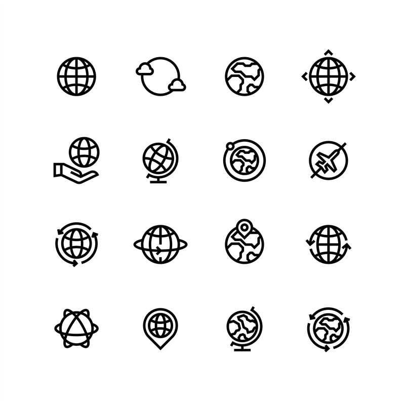 Global World Globe Outline Icons Earth Map And Travel