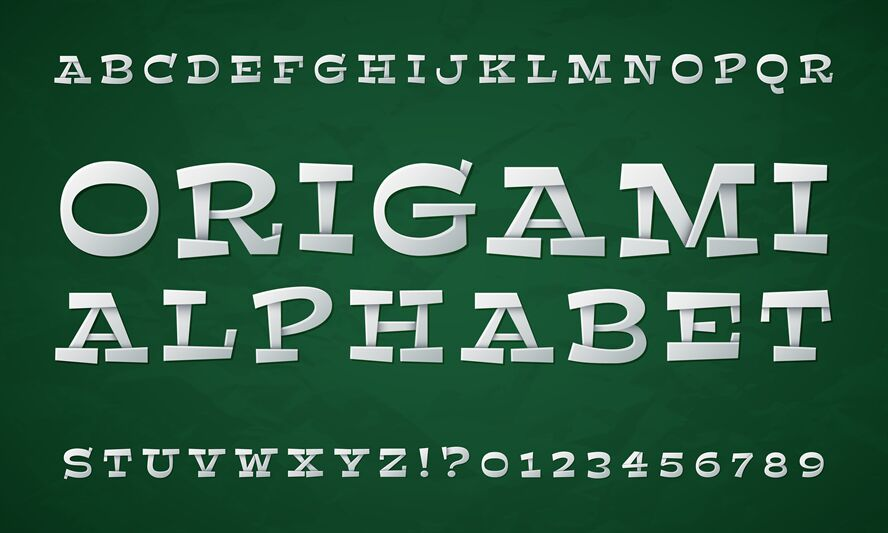 Origami alphabet letters Paper Royalty Free Vector Image | 533x888