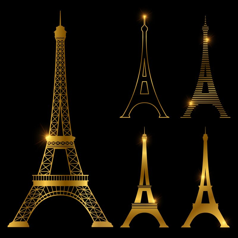 Different Golden Eiffel Tower Vector Landmark Set Paris Symbol