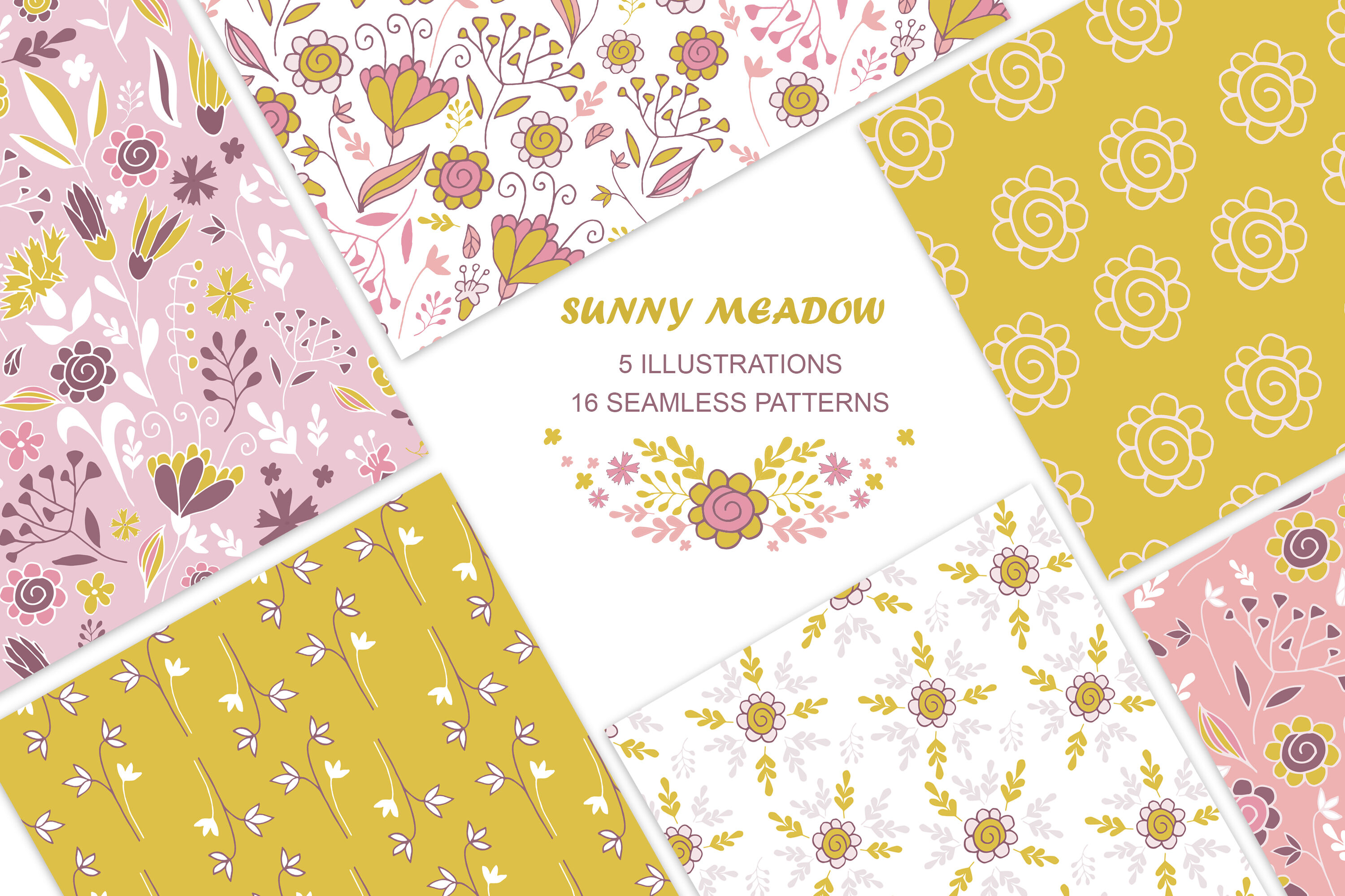 Vintage Seamless Floral Patterns And Illustrations Mustard Pink