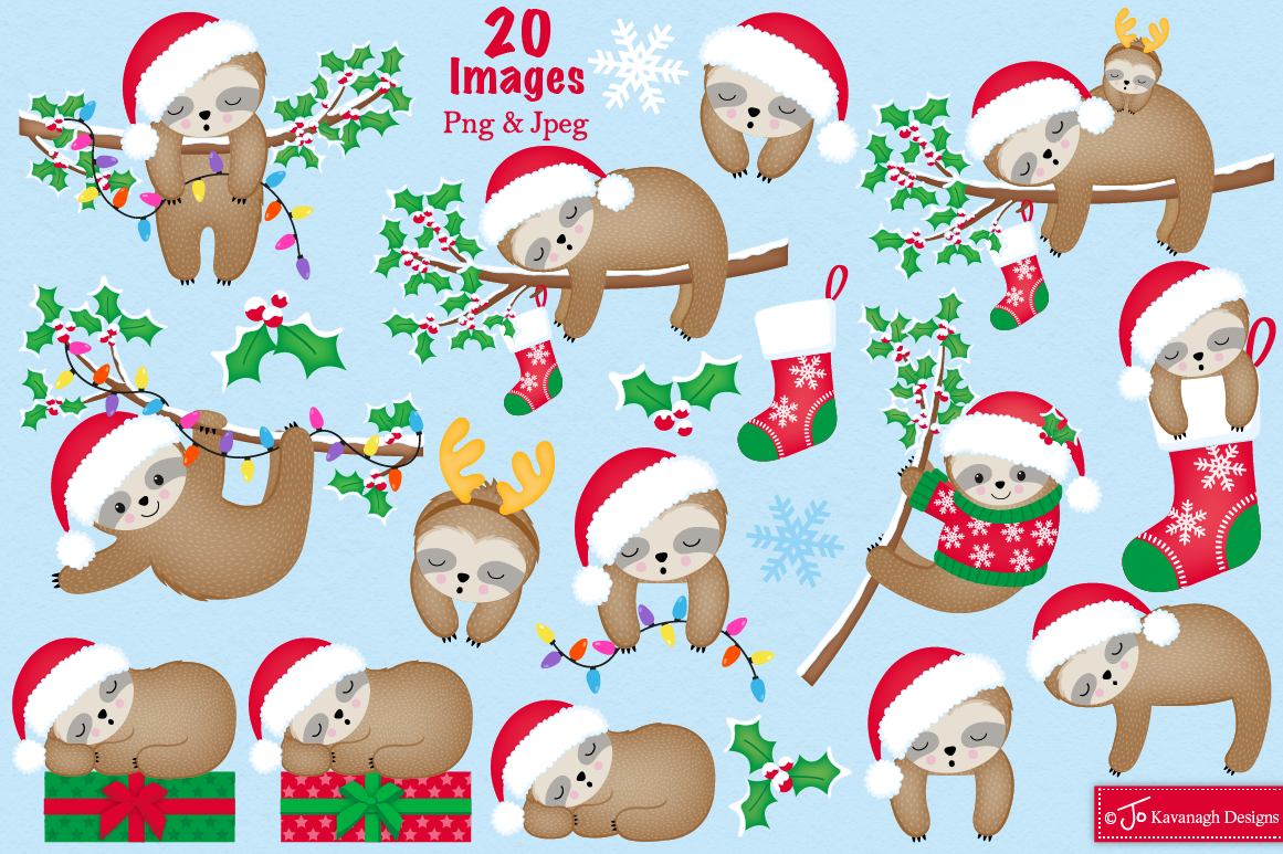 Christmas Sloth Clipart Sloth Graphics And Illustrations C38 By