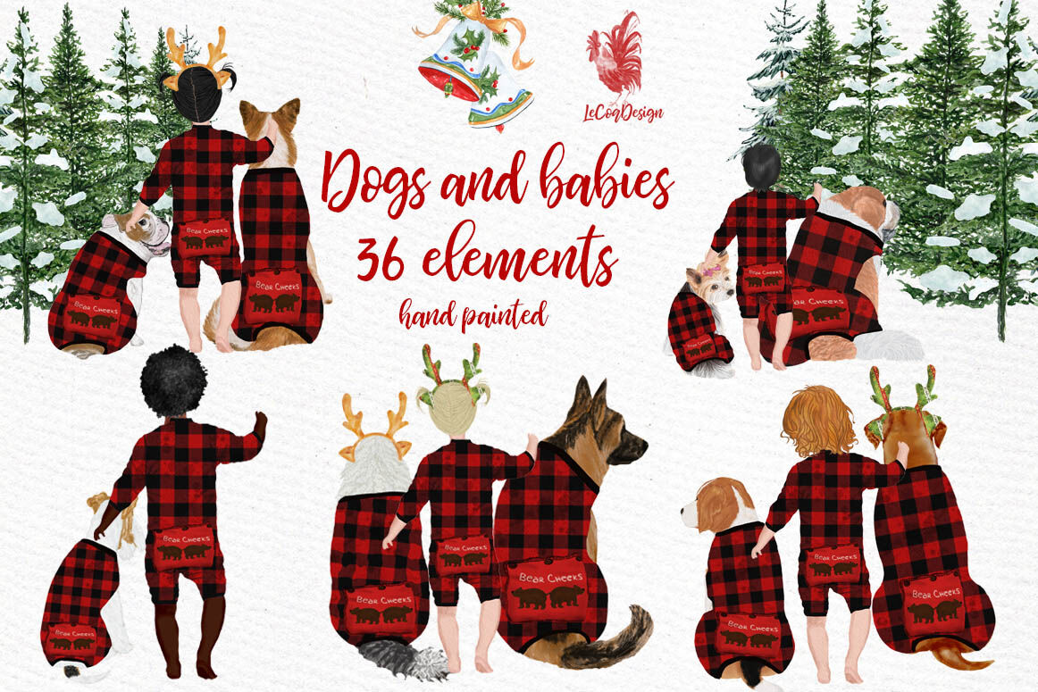 Dogs Clipart Baby Clipart Christmas Clipart Buffalo Plaid By