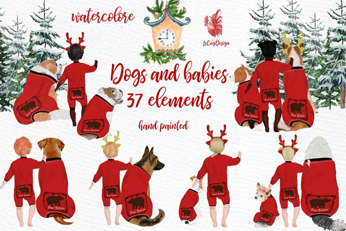 Christmas Pajamas For Dogs.Christmas Clipart Dogs And Babies Christmas Pajamas By