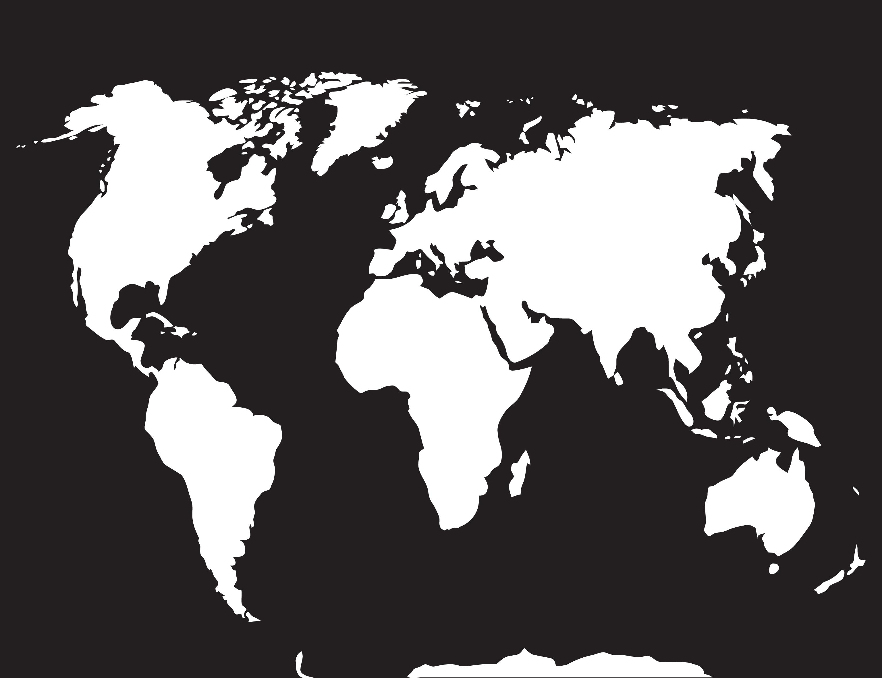Map World Black White By 09910190 Thehungryjpeg Com