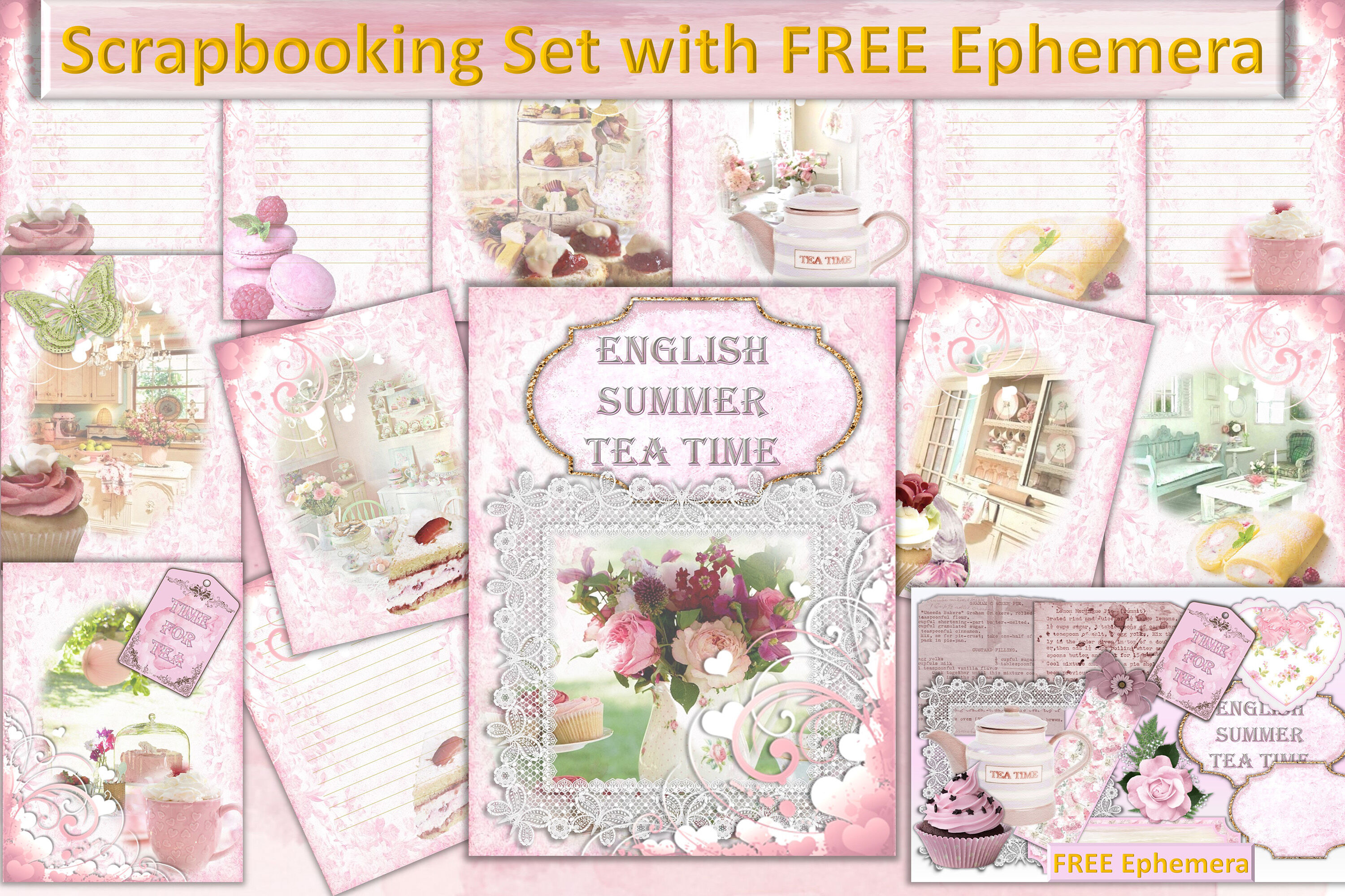 Time For Tea Scrapbooking Kit With Free Clipart And Ephemera By The Paper Princess Thehungryjpeg Com