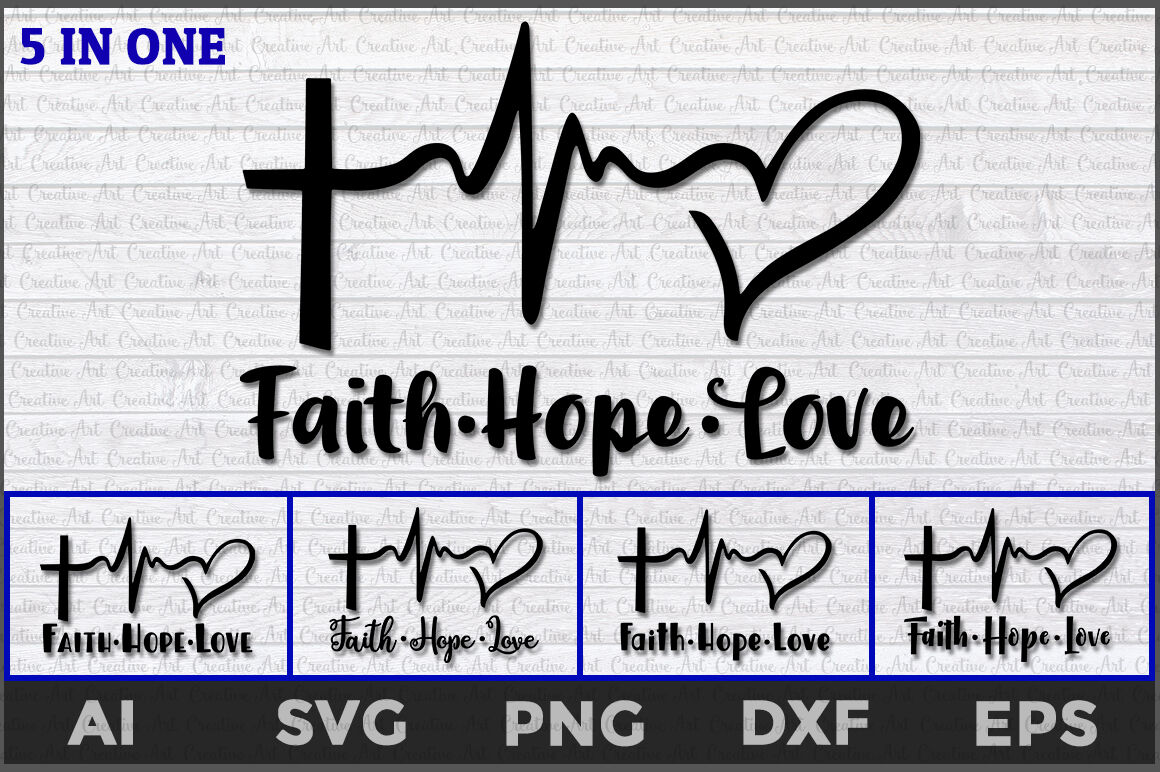 Faith Hope Love Heartbeat Svg Faith Hope Love Svg Faith Svg