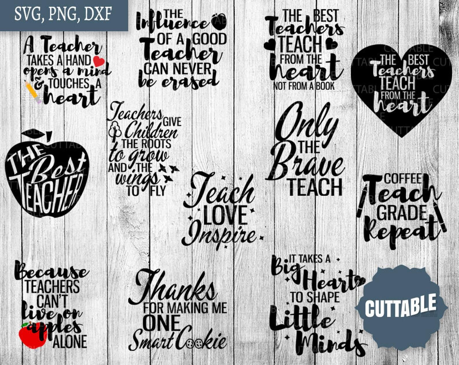 Teacher Svg Teacher Cut File Bundle Teach Quote Cut Files By