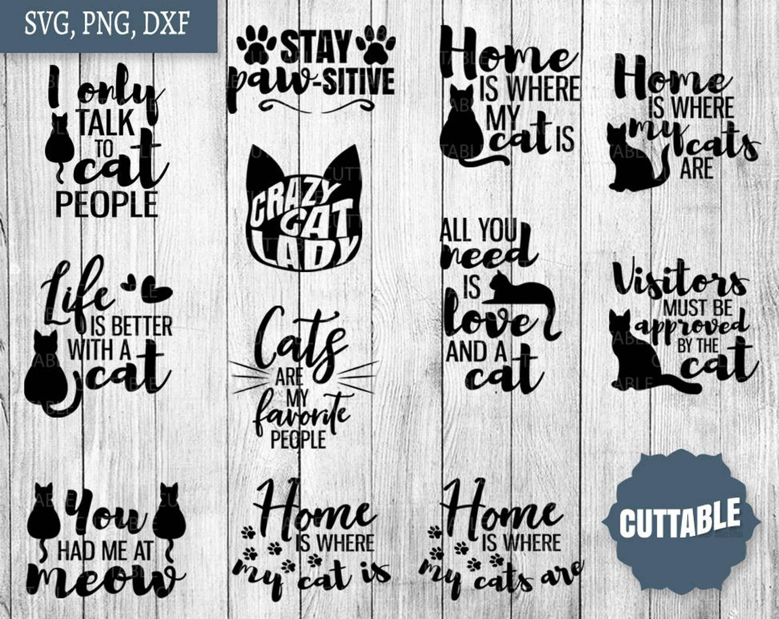 Cat Lover Svg Cat Lady Quote Bundle Cat Cut Files By Cuttable