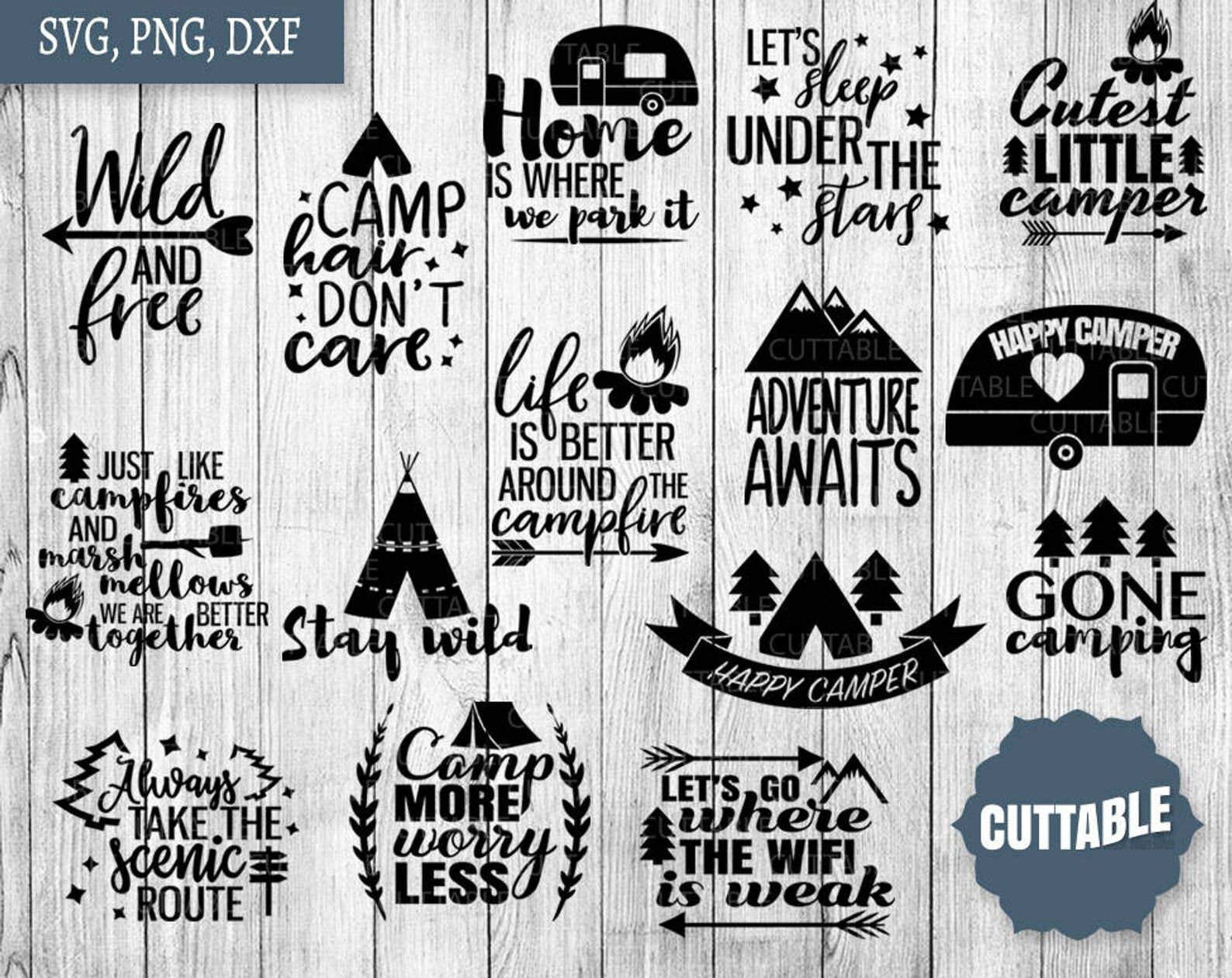 Camping Svgs Camping Cut File Bundle Campfire Svg Quotes By