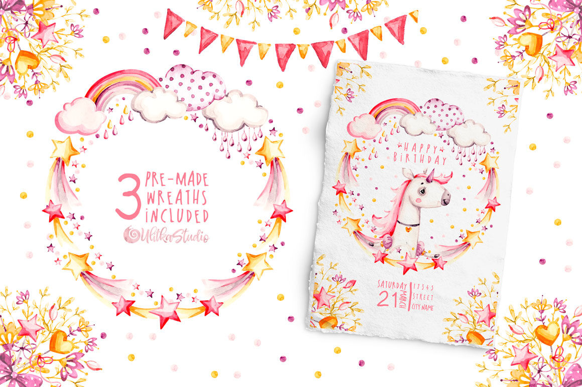 Magic Life Pink Naive Unicorns Watercolor Nursery Collection By