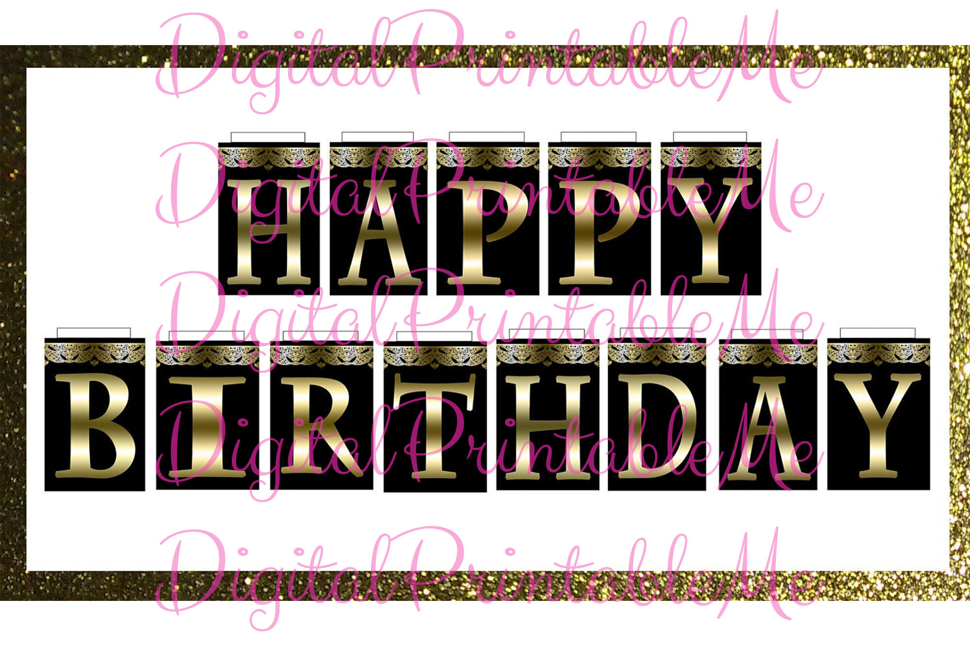 Printable Happy Birthday Banner Black And Gold Art Deco Sign