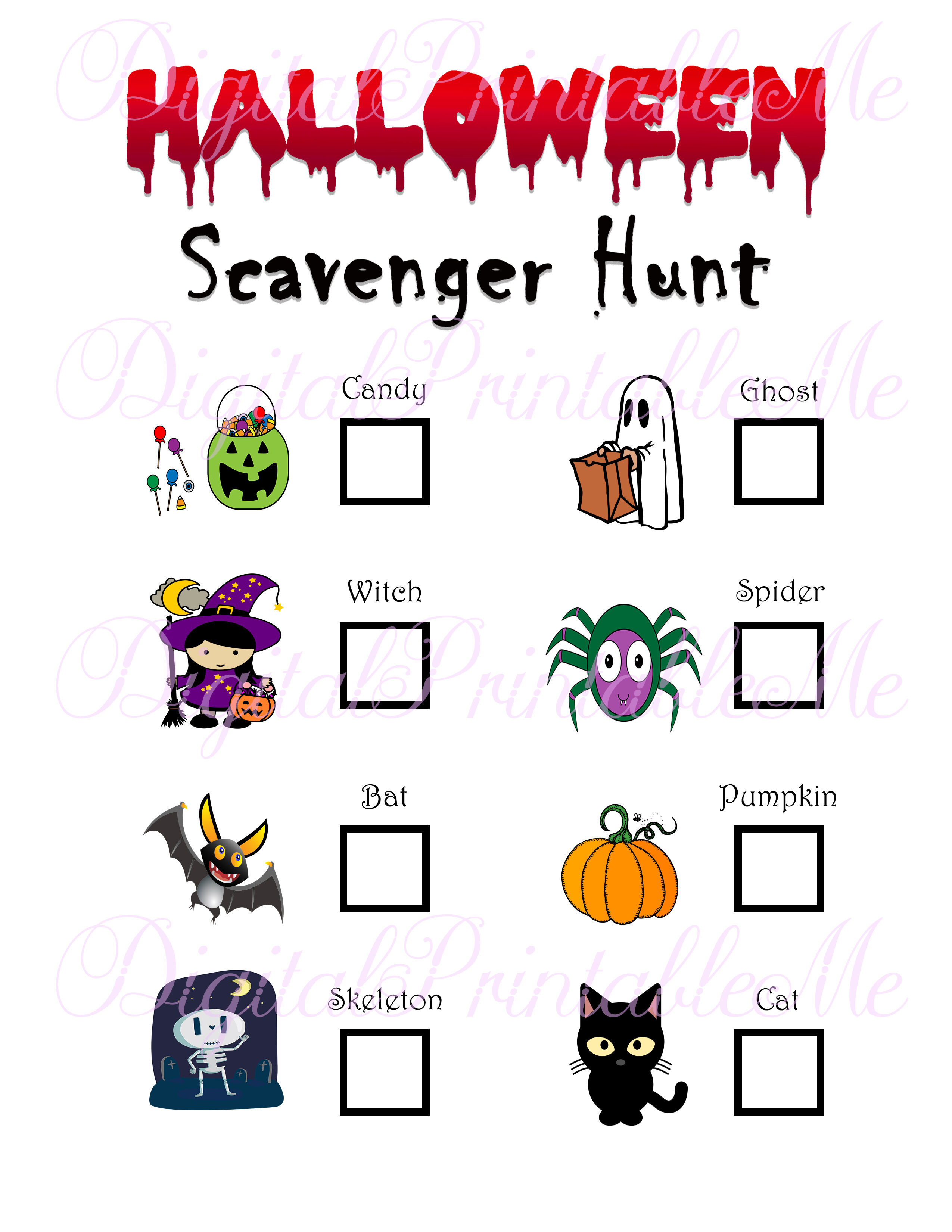 Halloween Scavenger Hunt Printable Kids Activity Backyard Game