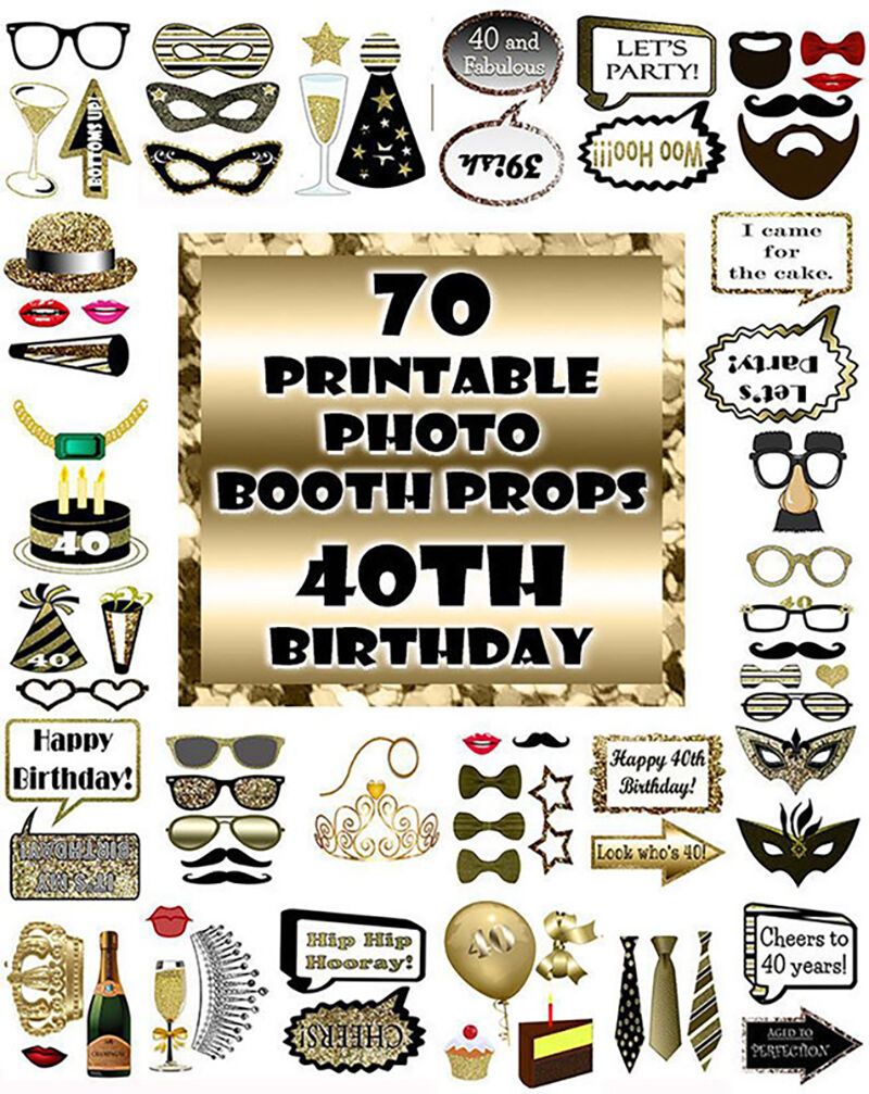 40th Birthday Photo Booth Props Black And Gold Over 60 Adult Classy Gl By Digitalprintableme Thehungryjpeg Com