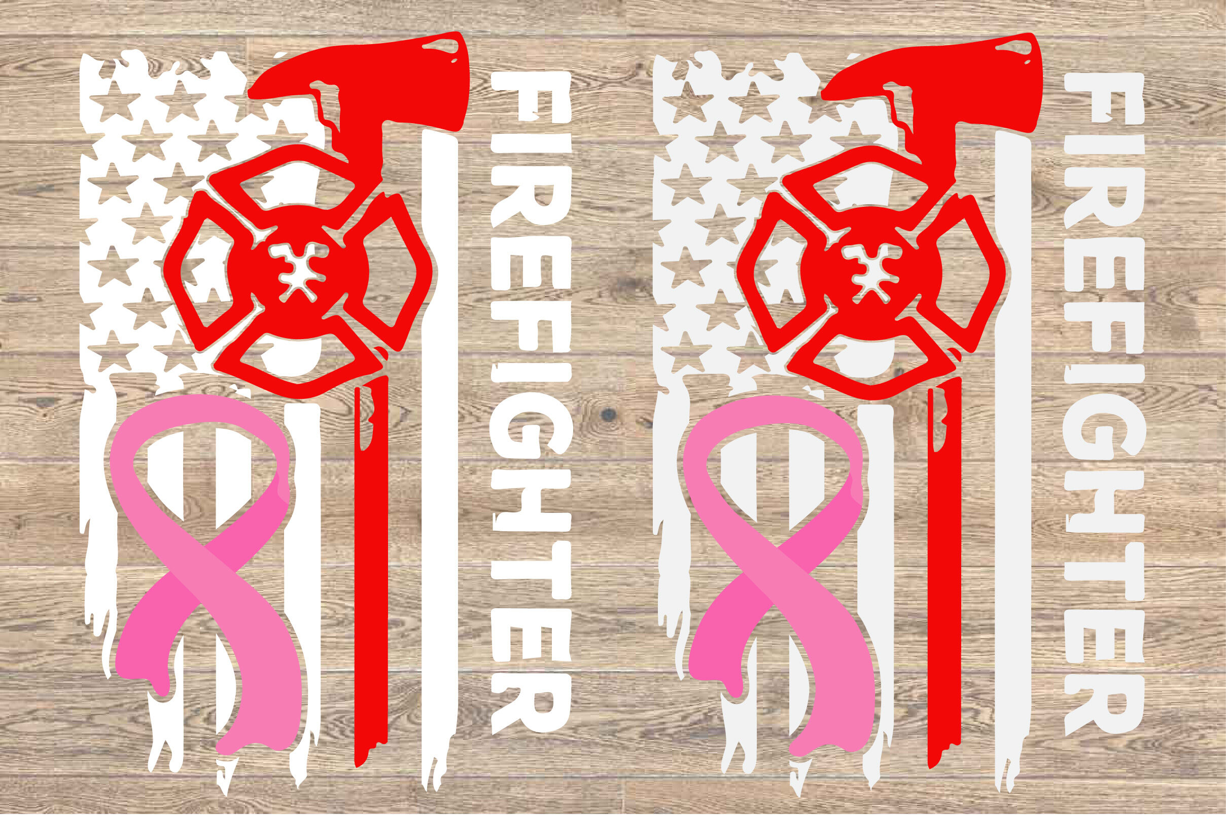 Pink Ribbon Firefighter Flag Svg Awareness Breast Cancer 1516s By