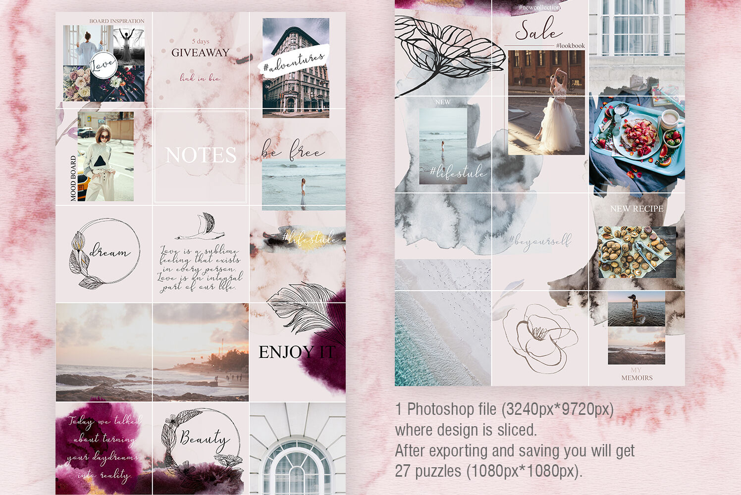 Instagram Pack Posts And Animated Stories Watercolor Templates