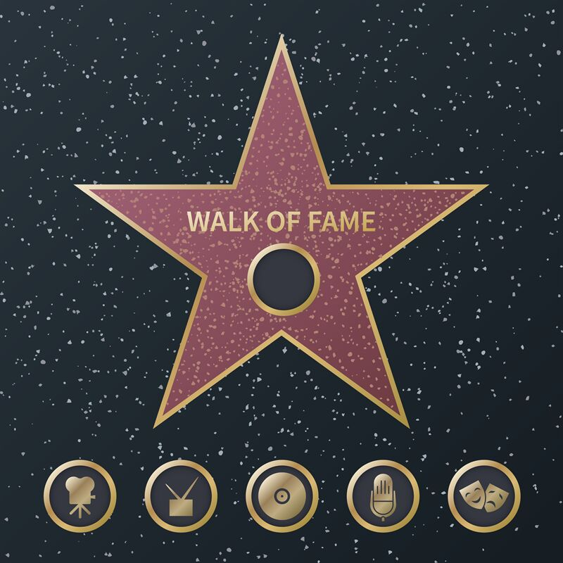 Hollywood Fame Star Art And Famous Actor Gold Star Symbol With