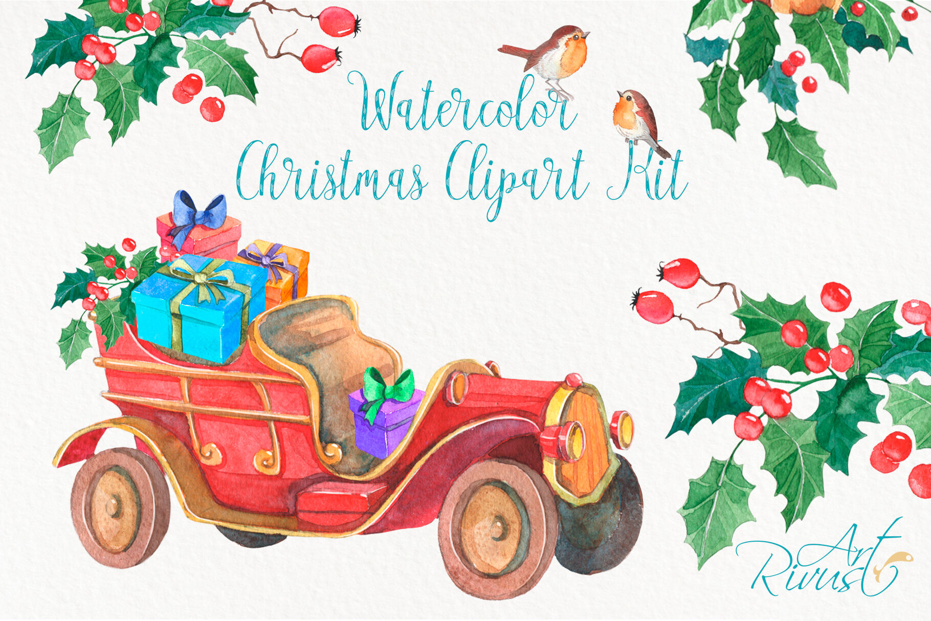 Merry Christmas Images Clip Art.Christmas Truck Png Clipart Merry Christmas Tree Watercolor