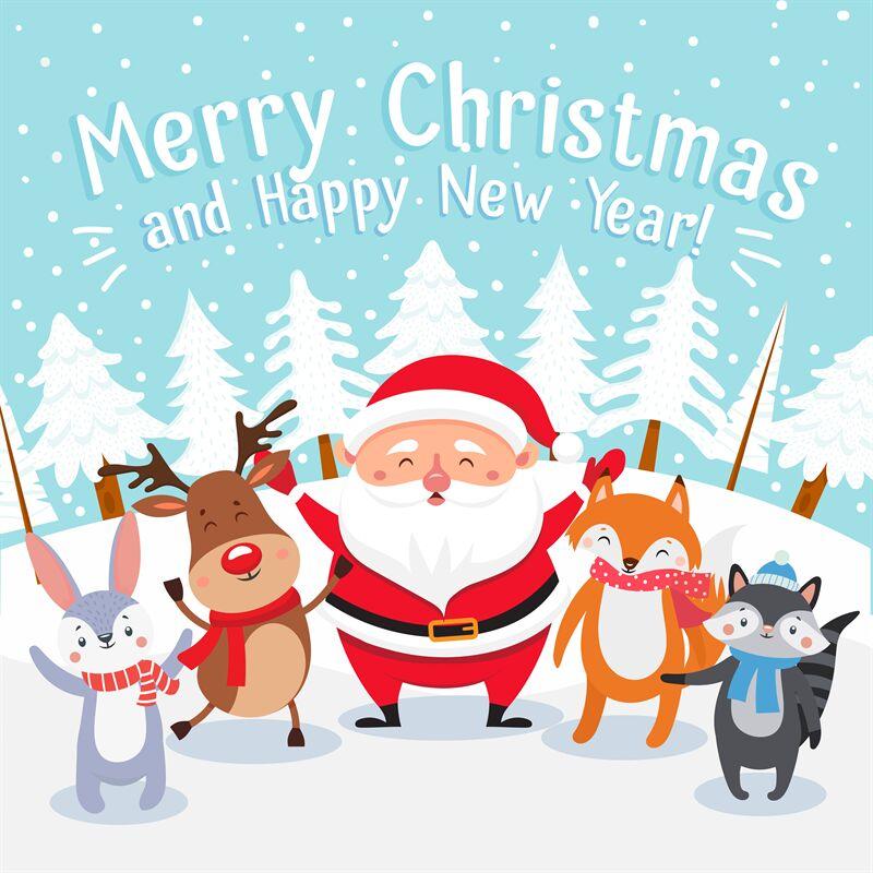 Merry Christmas Cartoon Greeting Card Happy Xmas Pets Santa