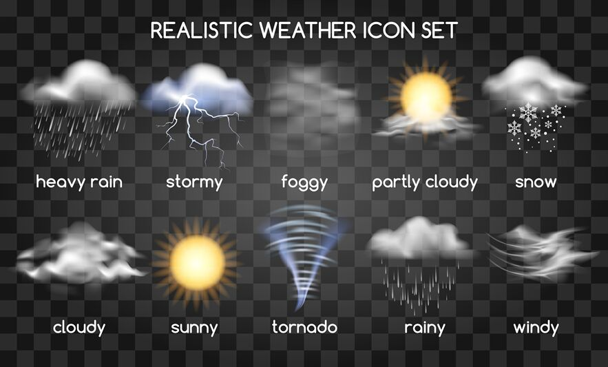 Realistic Weather Icons On Transparent By Vectortatu
