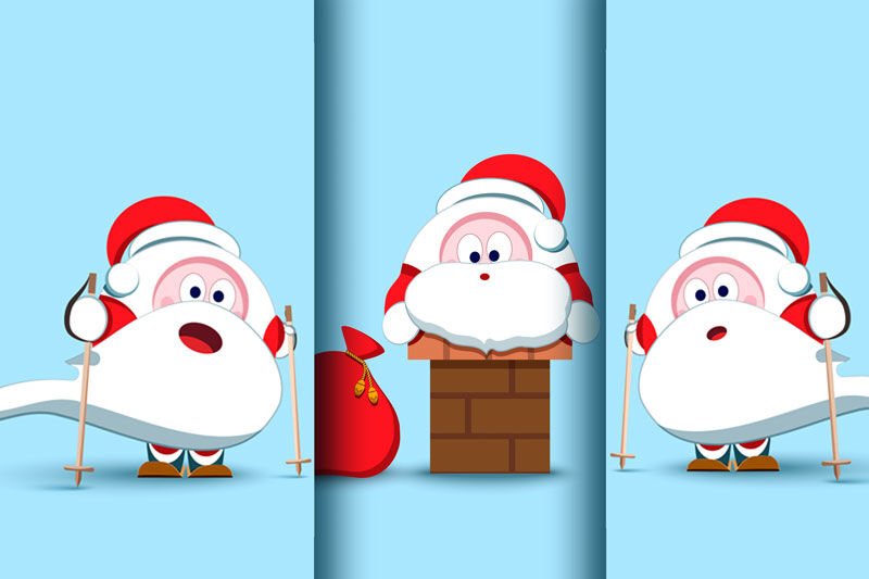 Santa Claus Christmas Character Set Of 17 Illustrations By